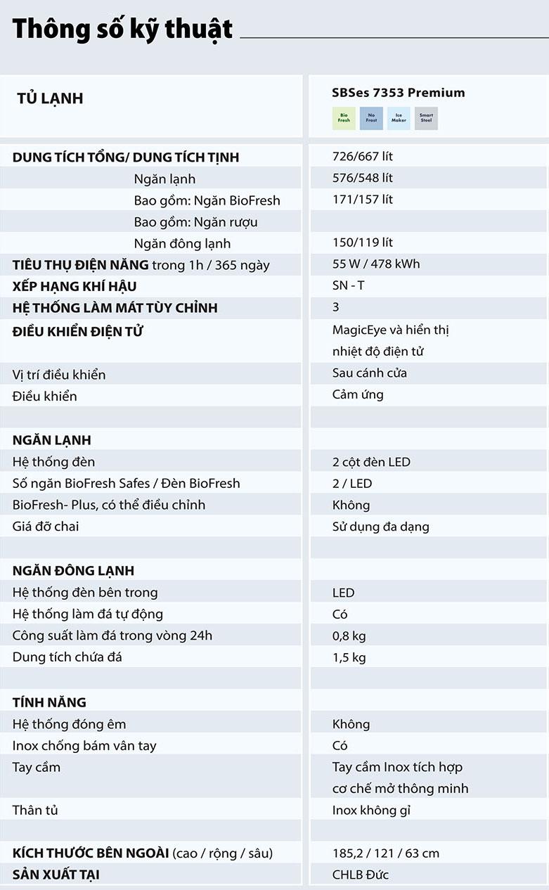 Tủ lạnh Liebherr SBSes 7353 Premium