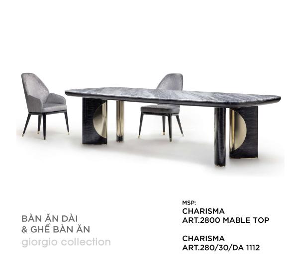 Bàn ăn dài và ghế bàn ăn Charisma Art.2800 Marble Top