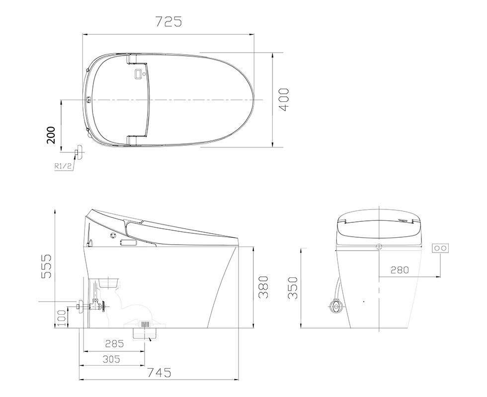 Bản vẽ kỹ thuật bồn cầu điện tử Daelim Smartlet 800