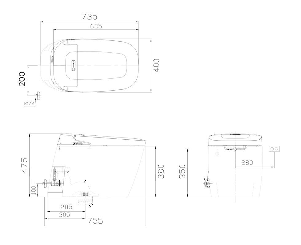 Bản vẽ kỹ thuật bồn cầu điện tử Daelim Smartlet 8000