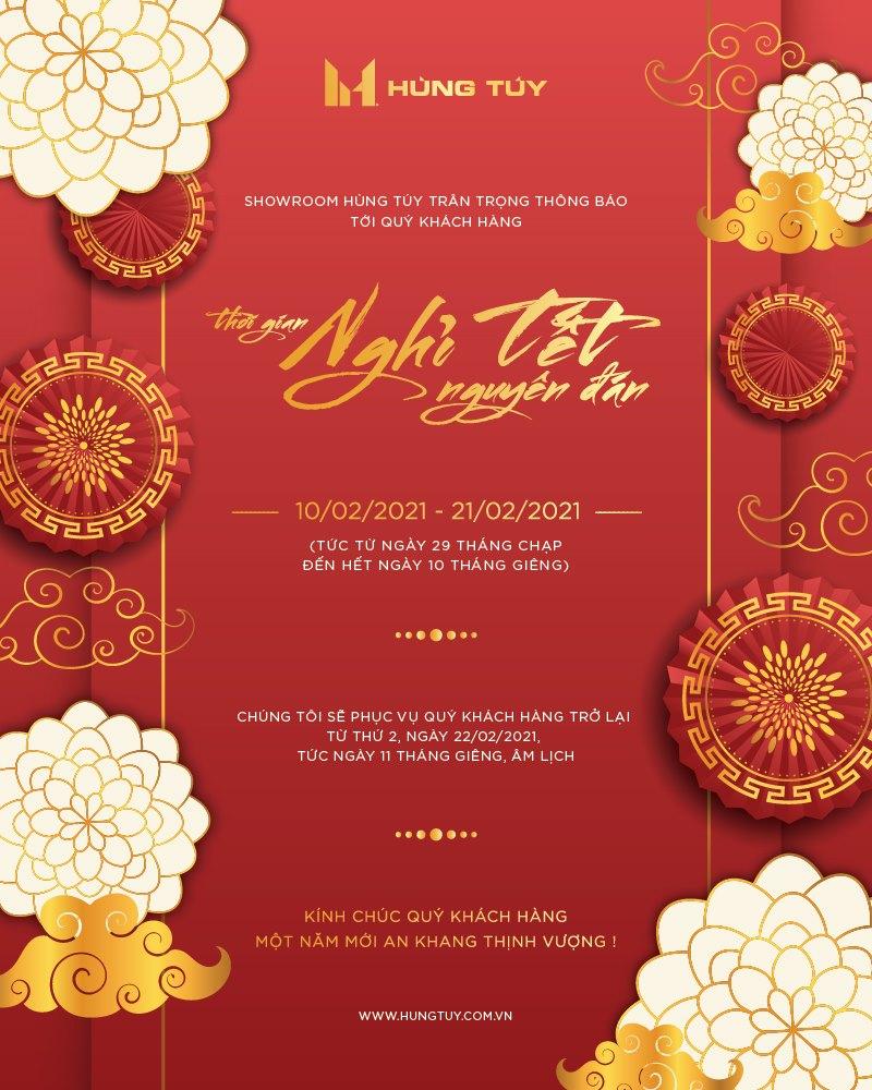 Thông báo lịch nghỉ Tết nguyên đán Showroom Hùng Túy