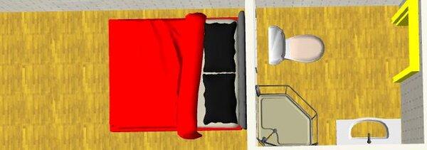 Không đặt bồn cầu ngay gần tường giáp với giường ngủ