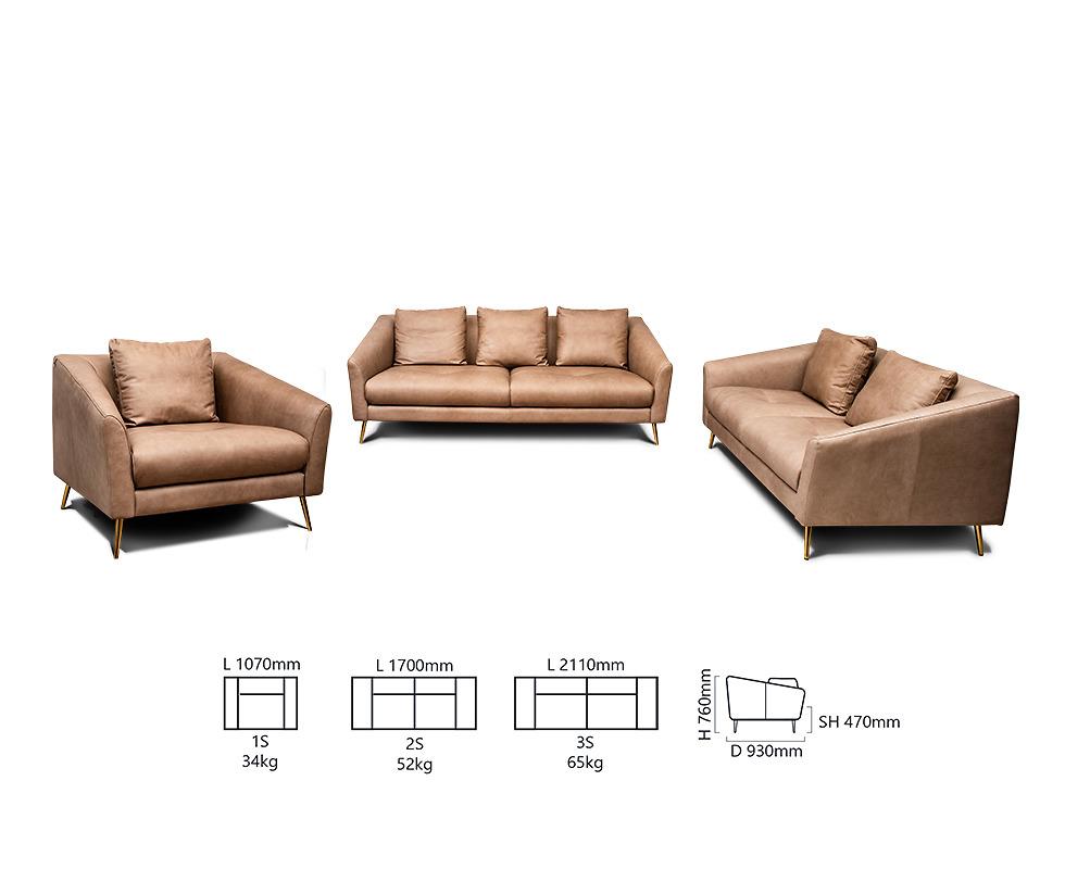 Bộ sofa SZ 28502/Col 03 Grigio O&W