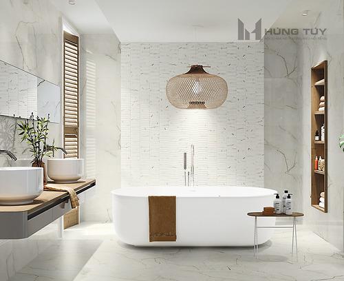 Gạch vân đá marble Amboise Lux Matt kích thước 60x120 cm được làm từ chất liệu Porcelain, độ hút nước ≤0.5%