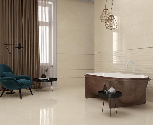 Gạch vân đá Marble Crema Level Natural thuộc loại gạch Ceramic có độ hút nước >10%.