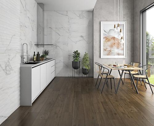 Gạch vân đá Marble Delta White thuộc loại gạch Ceramic có độ hút nước >10%.