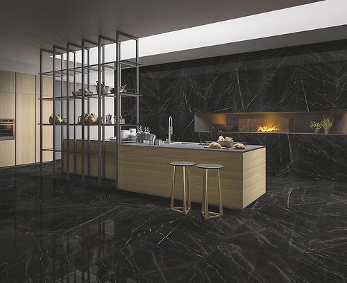 Gạch vân đá marble Refin - Marquina Lucido kích thước 75x150 cm