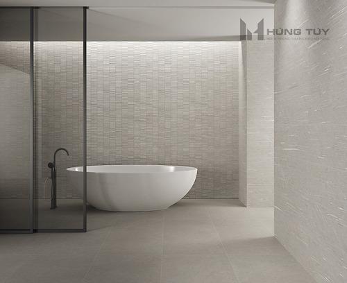 Gạch trang trí Stria Greyđược làm từ chất liệu ceramic
