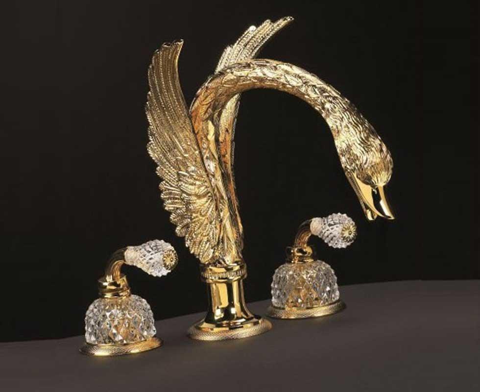 Vòi chậu 3 lỗ Cristal et Bronze - Cygne Aile' 25011